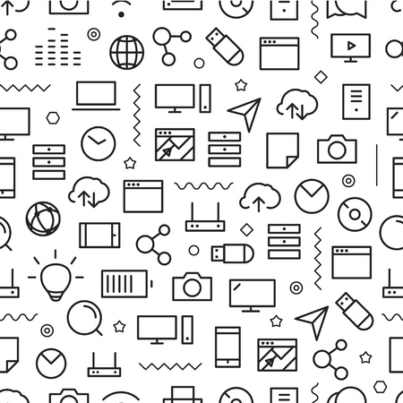 Ilustración de Different line style icons seamless pattern. Technology - Imagen libre de derechos