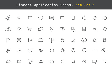 Illustration for Modern web and mobile application pictograms collection. Lineart intercece icons set - Royalty Free Image