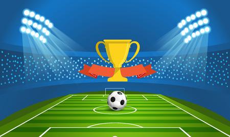 Light stadium mast vector illustration. Stadium with green football field