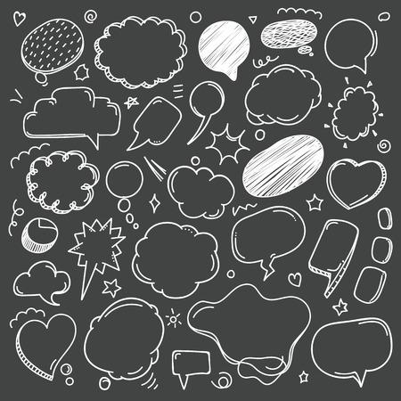 Illustration pour Different sketch style speech clouds collection on dark background. Vector doodles set - image libre de droit