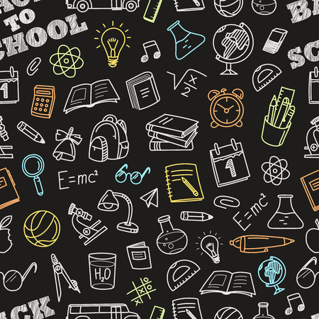 Illustration for Back to school chalk doodles seamless pattern. Education elements clip-art for  design - Royalty Free Image