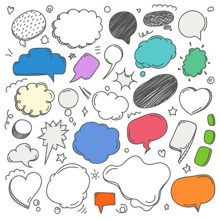 Illustration pour Different sketch style speech clouds collection. Vector doodles set - image libre de droit
