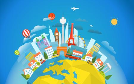 Photo pour Famous signts around the world. Travel concept vector illustration. Around the  world tour - image libre de droit