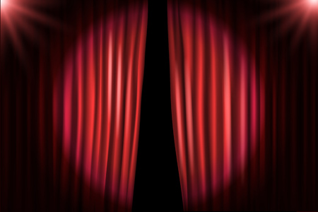 Illustration pour Opening stage curtains with bright projectors. Vector illustration. Standup show template - image libre de droit