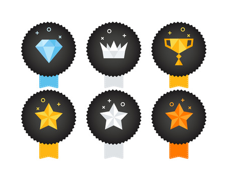 Illustration for Different trophy icon set isolated on white background. Vector illustration  - Royalty Free Image