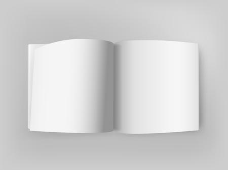Illustration pour White square open book on grey table. Vector mockup - image libre de droit