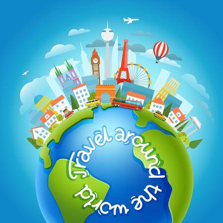 Illustration pour Around the world travelling concept with calligraphic design - image libre de droit