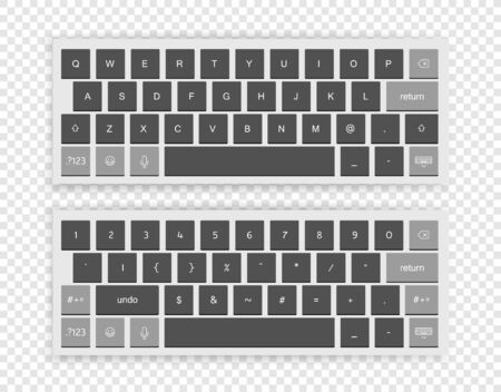 Illustration pour Modern wireless keyboard isolated on transparent background. Top view - image libre de droit