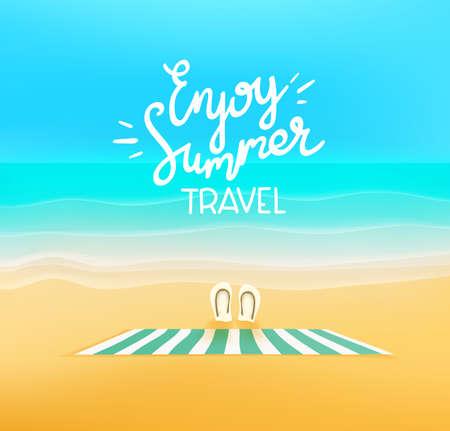 Illustration pour Enjoy summer travel. Beautiful landscape with empty beach - image libre de droit