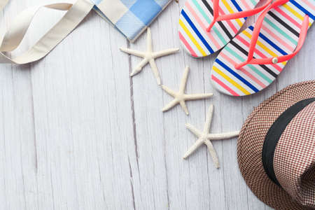 Photo for flat composition of summer beach accessories on table. - Royalty Free Image