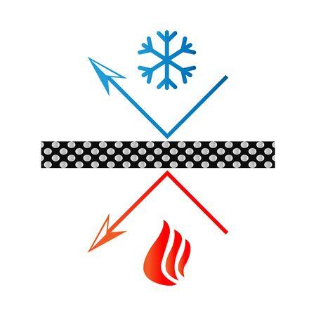 Illustration pour heat preservation material - snowflake and fire - image libre de droit