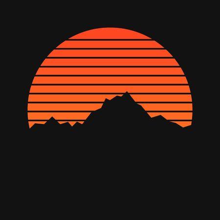 Illustration pour Mountains on sunset background - image libre de droit