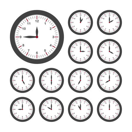 Illustration pour Set of round clocks for every hour. Analog clock with circle shape, time and minutes. Vector - image libre de droit