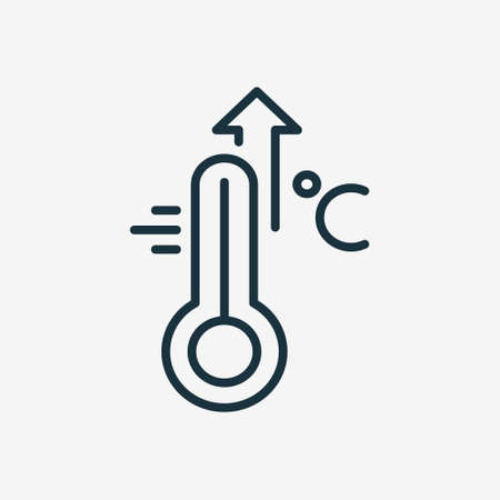 Illustration pour High Temperature Scale Line Icon. Flu, Cold, Virus and Fever Symptoms. Thermometer with Arrow Up Pictogram. Increased Temperature of Human Body Linear Icon. Editable stroke. Vector illustration - image libre de droit