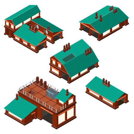 Isometric set of factories production facility layout plan. Detailed.
