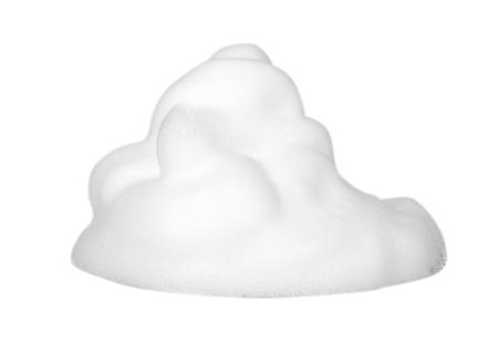 Photo pour White foam bubbles, beauty smooth mousse, close up photo. Isolated on white background - image libre de droit