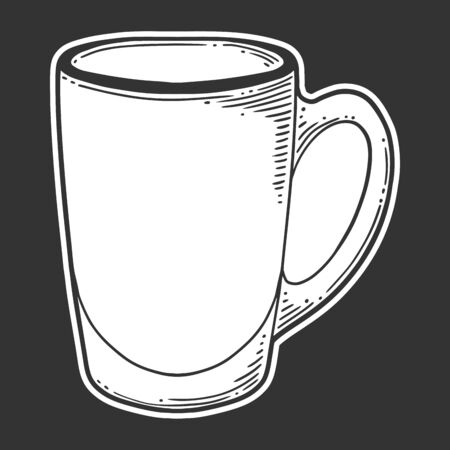 Coffee cups and mugs in doodle sketch style