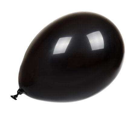 Photo pour Hand with black inflatable balloon, party event decoration, glossy ball. Isolated on white background. - image libre de droit