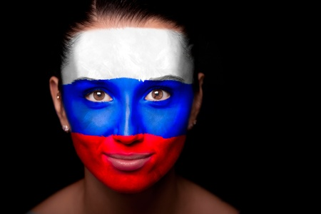 Portrait of a woman with the flag of the Russia