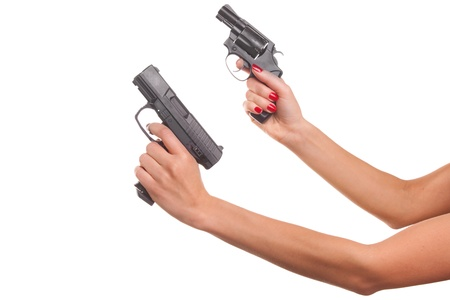 Woman's hand with a gun