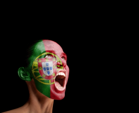 The Portuguese flag on the face of a screaming woman  concept