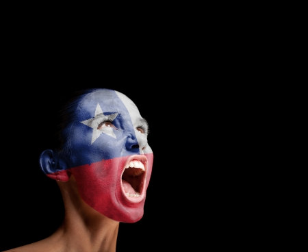 The Chile flag on the face of a screaming woman  concept