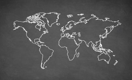 World map drawn on chalkboard. Chalk and blackboard.