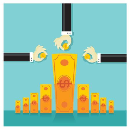 Business vector investment money cash rich savings bank