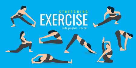 Illustration for Woman Stretching exercises. Active and healthy life concept. vector illustration. on blue background. icons of girl doing sport - Royalty Free Image