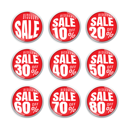 sale up to 10,20,30,40,50,60,70,80, percent on circle red label set (vector). banner. Business. marketing. on white background