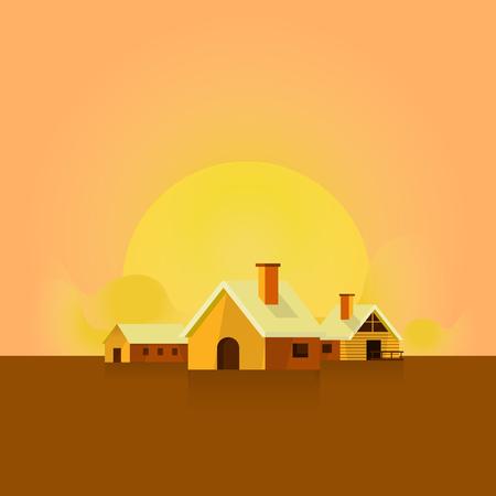 Illustration pour sunset evening landscape. background. home. nature. atmosphere - image libre de droit