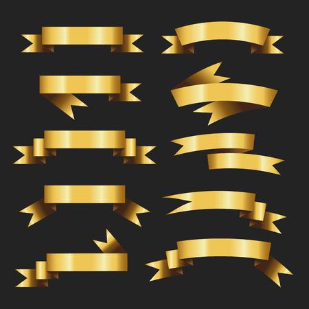 Illustration pour Set of Retro Gold Ribbons Vector Illustration. beautiful festive. tape banner flag bow. on black background - image libre de droit