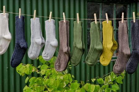 Irish wool chunky knit ribbed winter socks