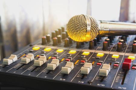 Photo pour Closeup audio mixer slider in the control room. - image libre de droit