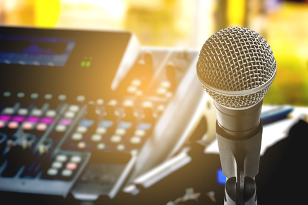 Photo for The microphone with recording equipment - Royalty Free Image