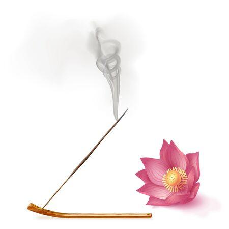 Aroma smoke reed sticks on holder, lotus aromatherapy vector illustration.