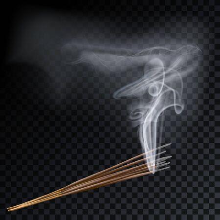 Aroma smoke eight reed sticks aromatherapy vector illustration.