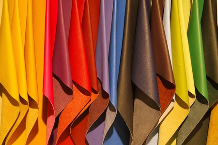 Brightly colored leather samples