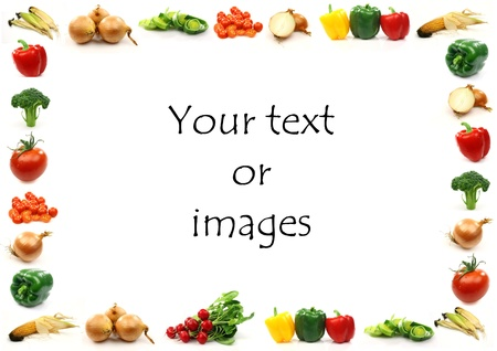 vegetable border with room for your text or images on a white background