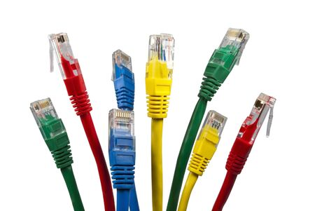 Bunch of brightly multi coloured ethernet network cables isolated on white background