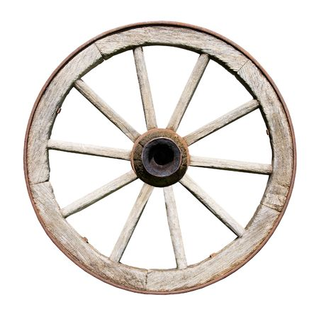 Old Traditional Wodden Wheel Isolated on White Background