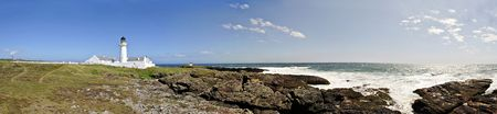 Stitched Panorama of Langness Peninsula with Lighthouse on the Isle of Man