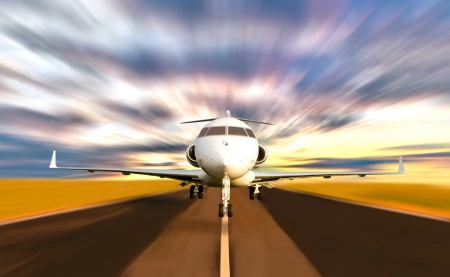 Front of Private Jet Plane Taking off with Motion   Radial  Blur  Sunset Scene