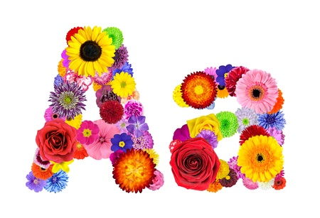 Letter A of Flower Alphabet Isolated on White. Letter consist of many colorful and original flowers
