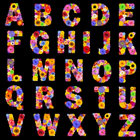 Full Floral Alphabet Isolated on Black Background.  Letters A to Z made of many colorful and original flowers