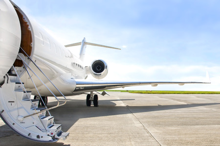 Photo pour Stairs with Jet Engine on a modern private jet airplane  - image libre de droit