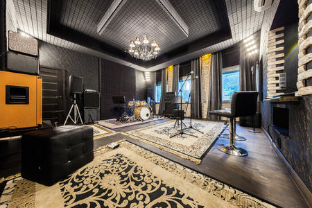 Photo for interior music studio for musicians playing, photo made in the wide-angle lens - Royalty Free Image