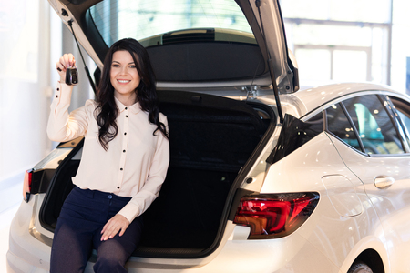 Photo pour Beautiful woman in dealership center staying near new car. Shows functionality of the car - image libre de droit