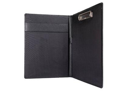 open black leather portfolio for documents.