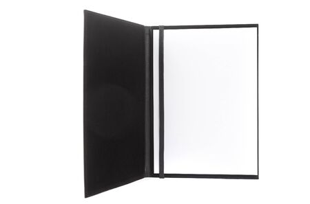 Leather folder for documents on a white